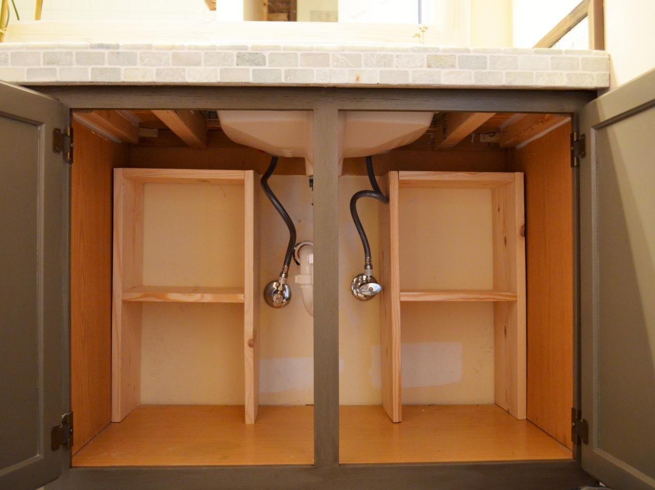 A step by step guide for creating storage under the sink Bathroom vanity cabinet storage