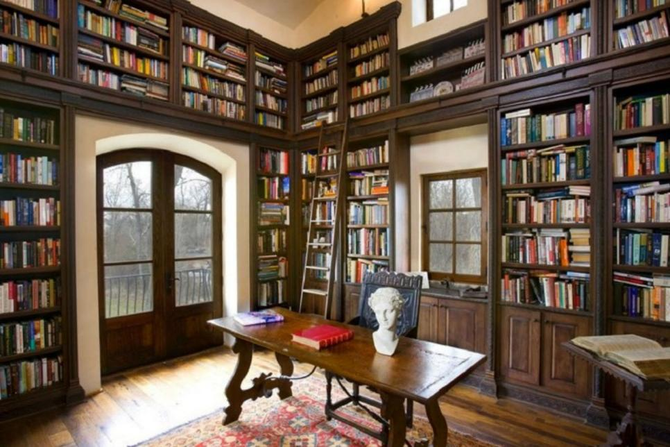 Tuscan Inspired Home With Two Story Library Hgtv