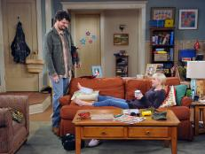 Christy and Baxter on Living Room Set of CBS's 'Mom'