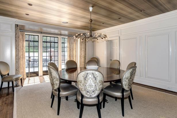 Belmont Rd, Washington DC: Dining Room With Silver Chairs and Brown Table