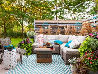 Decorated Outdoor Space with Cedar Table and Turquoise Lanterns