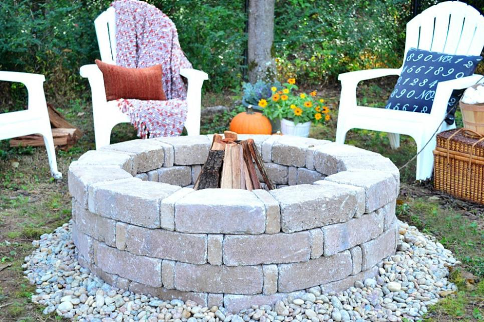 How to build a fire pit hgtv for How to build a round fire pit