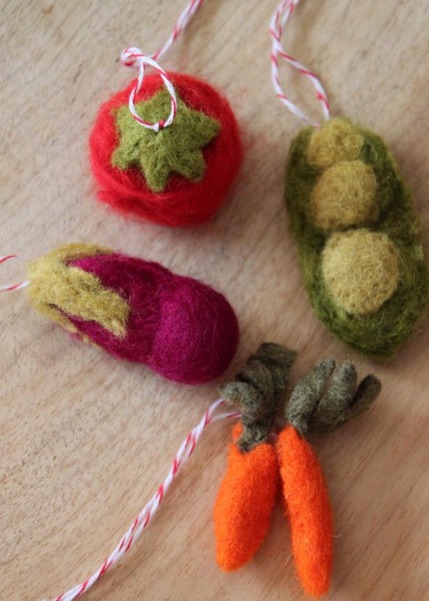 Felted Veggie Ornaments
