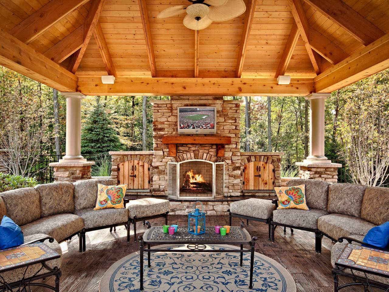 Outdoor fireplace plans hgtv for Plans for gazebo with fireplace