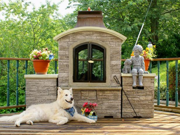 Dog Friendly Deck Outdoor Fireplace