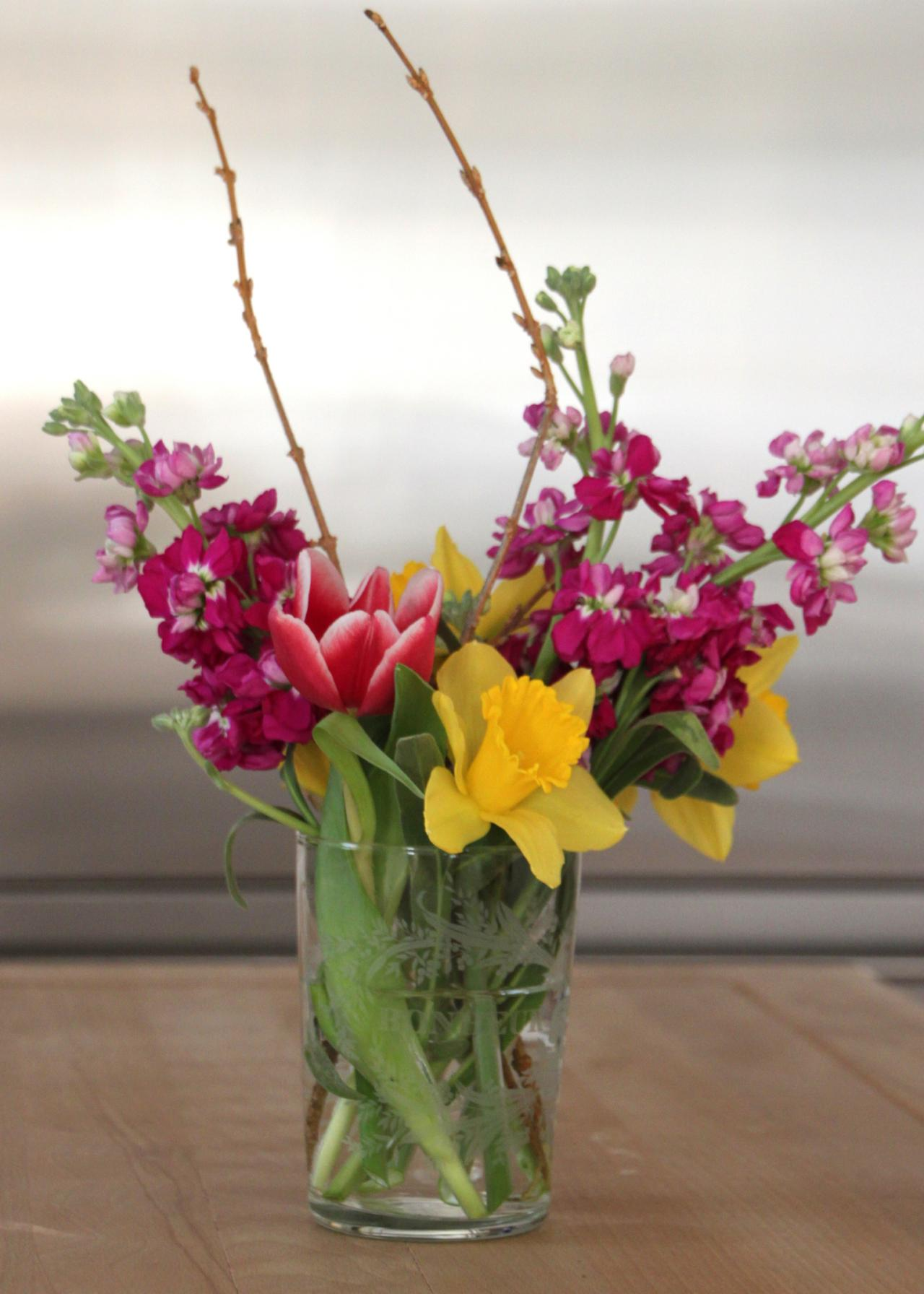 try winter forsythia in a flower arrangement - Forsythia Arrangements