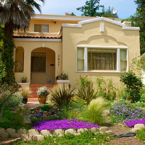 A splash of purple highlights this affordable front yard garden in the San Francisco Bay area.