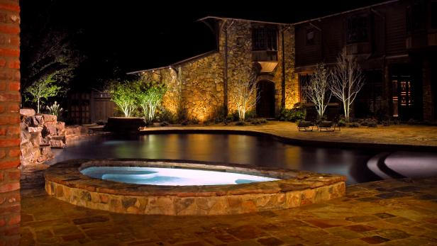 Artfully Lit Poolscape