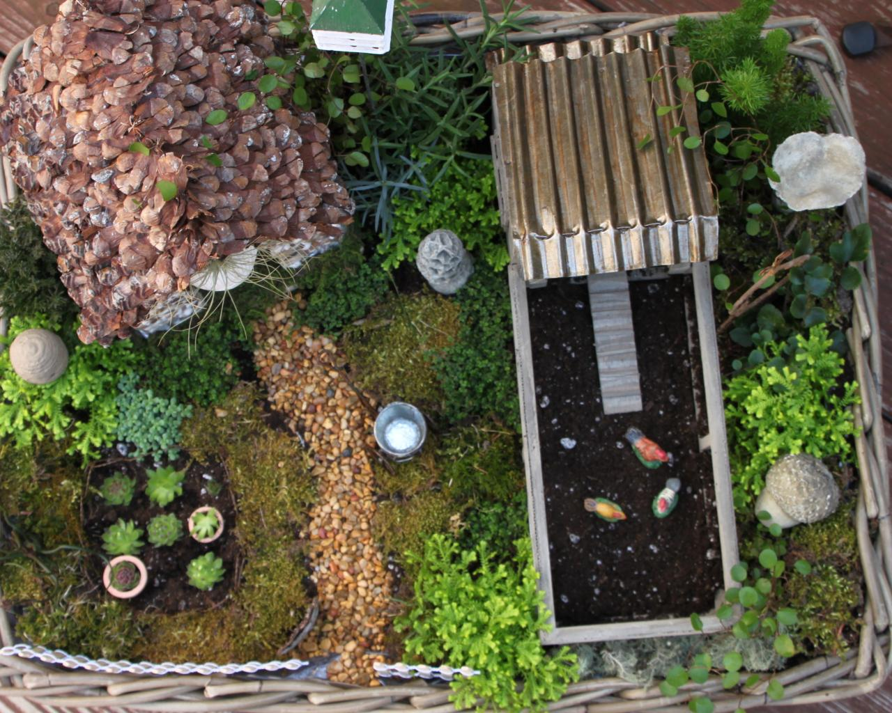 How to make a miniature fairy garden in a container hgtv - How to make a fairy garden container ...