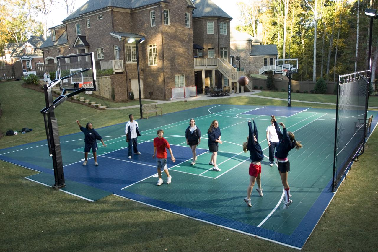 Bring the game home with a backyard sports court hgtv Indoor half court basketball cost