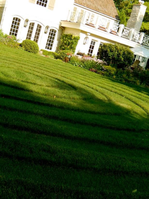 "Garden Swirl: A double lawn labyrinth serves as the centerpiece of our garden. For those times when the garden is having a ""bad hair day"" try diverting the eye in creative ways!"