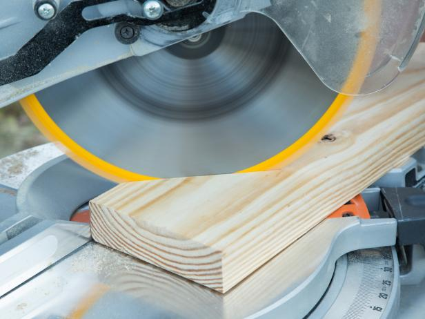 Create four corner braces from planks of 2' x 8' pine or cedar by cutting each plank at a 45 degree angle with the circular saw.