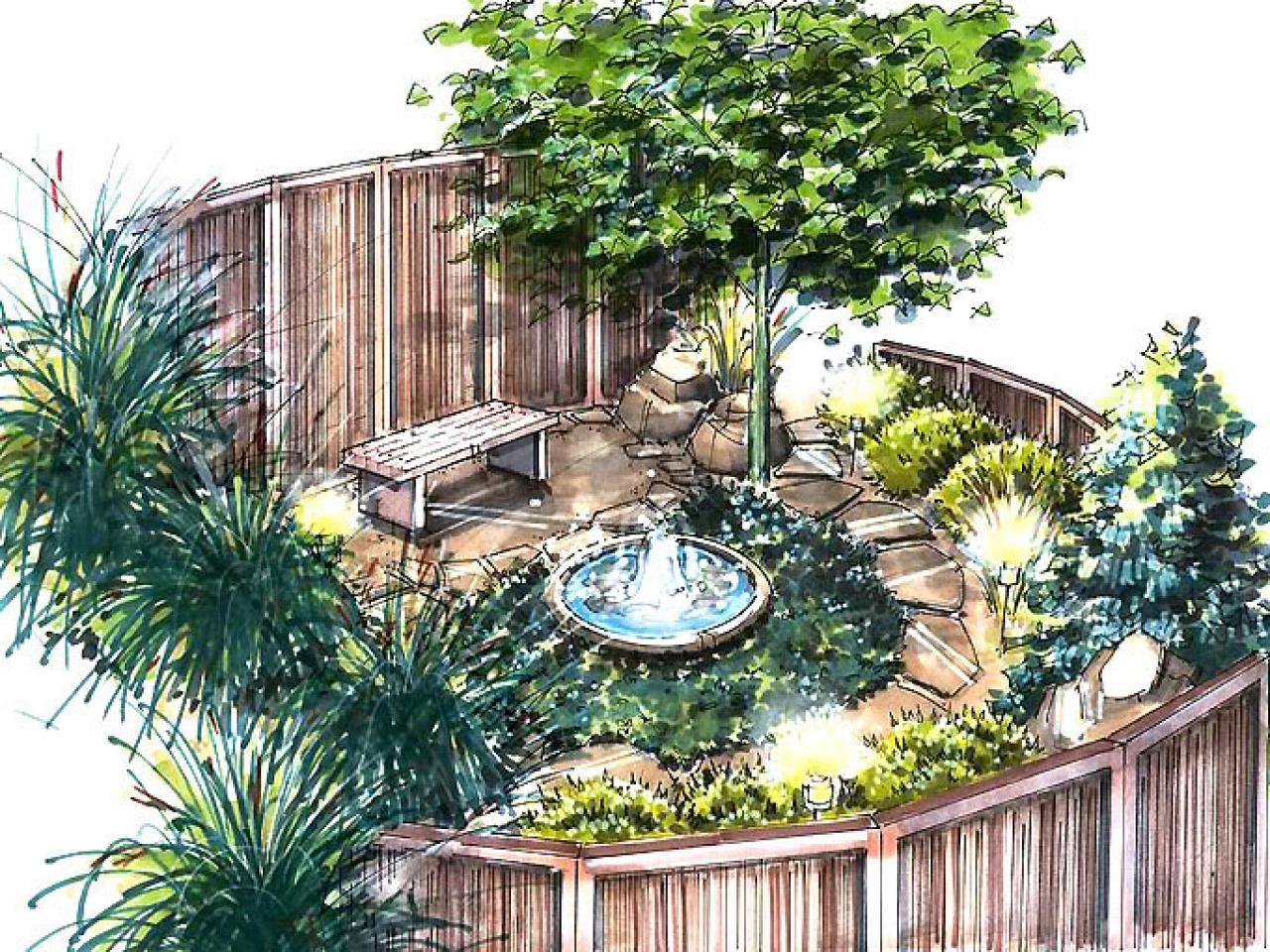 A meditation garden plan hgtv for Garden landscape plan
