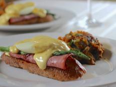 Asparagus Eggs Benedict and Sweet Potato Hash