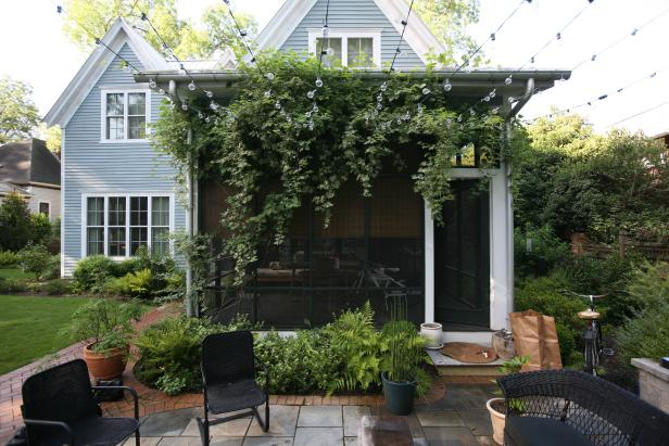 Screened Porch with Lights and Variegated Porcelain Vine