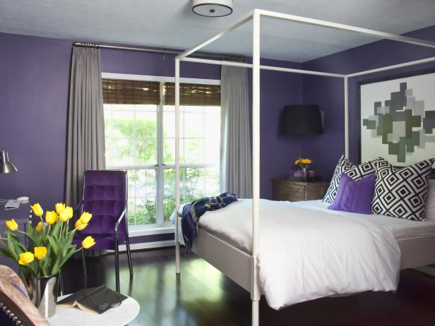 Chic Guest Room Pops With Purple 10 Photos