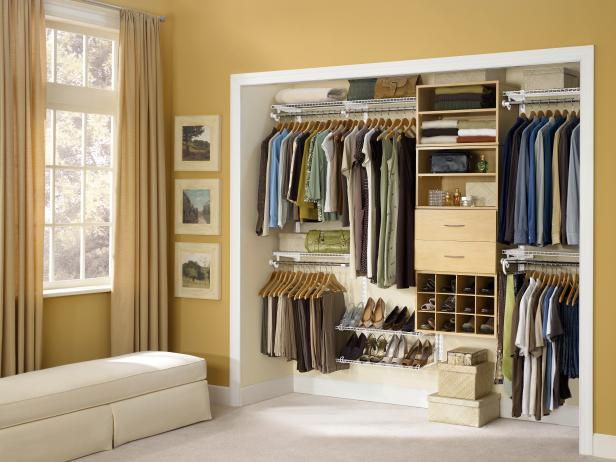 Closet design organization ideas hgtv for Walk in closet remodel