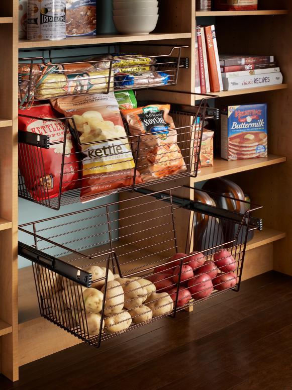 Sliding Pantry Storage Baskets
