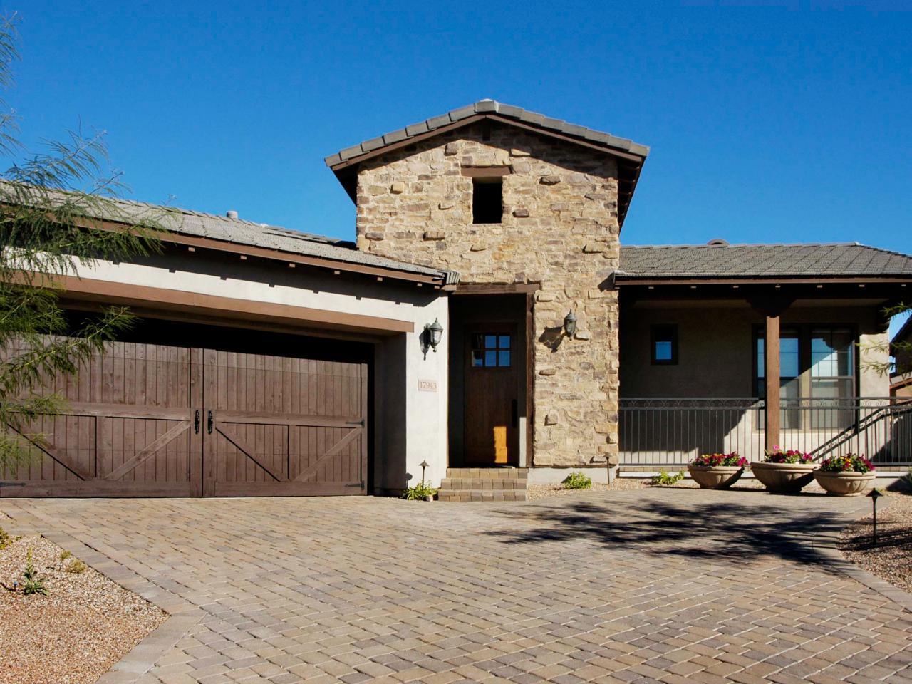 26 garage door designs home remodeling ideas for for Stone garage designs