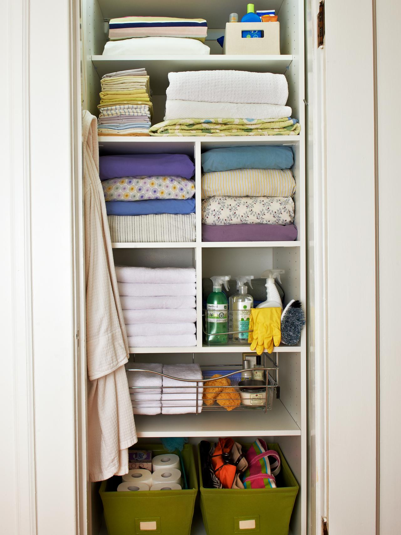 Linen Cabinet And Closet Organization Ideas HGTV - Bathroom closet organization ideas