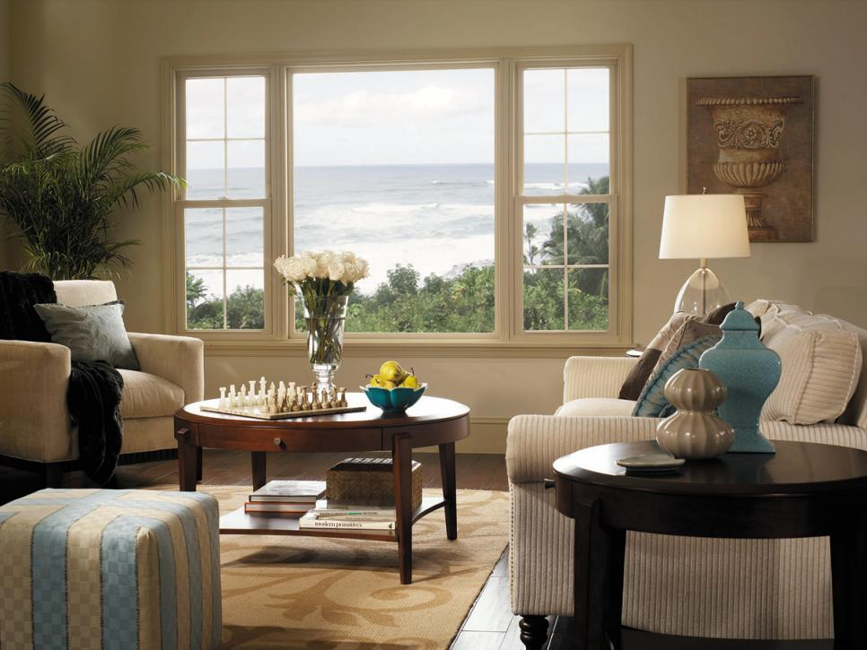Window designs casements more hgtv for Living room picture window ideas
