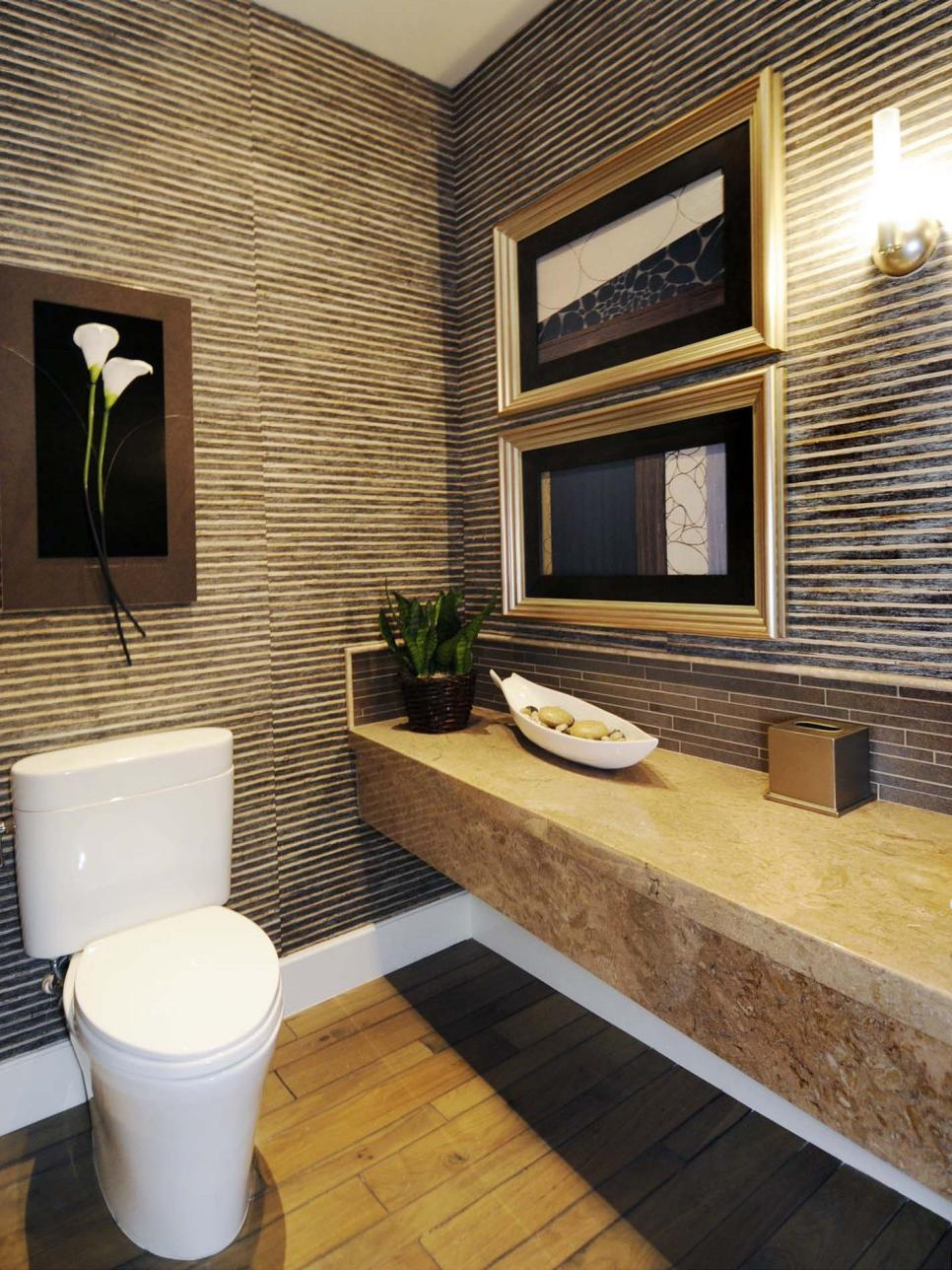 Half baths and powder rooms hgtv for Bamboo bathroom design
