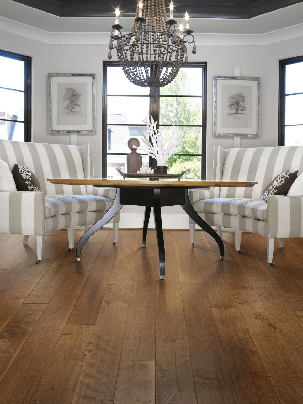 Hardwood kitchen floors hgtv for Dining room flooring