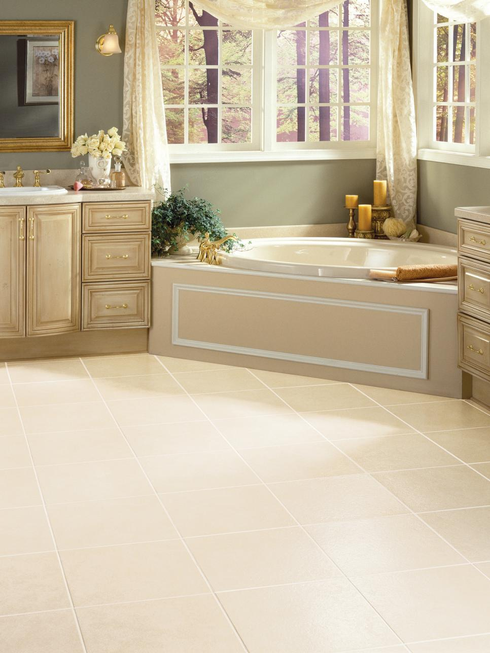 Vinyl bathroom floors hgtv for Vinyl flooring bathroom