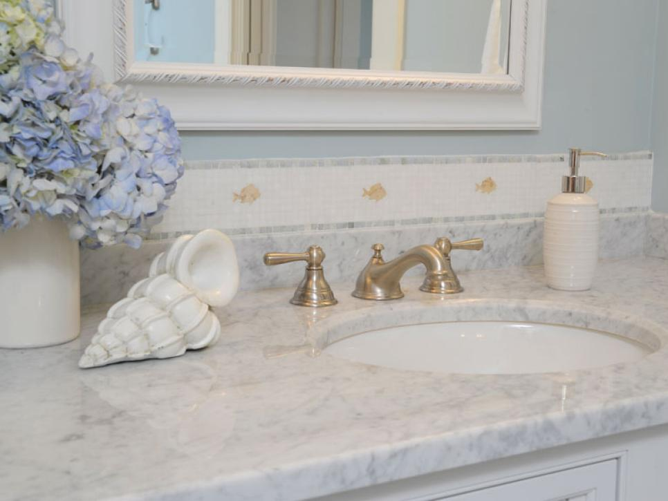 Marble bathroom countertops hgtv for Bathroom countertops