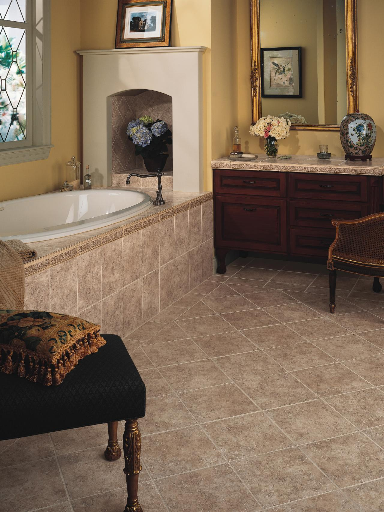 Ceramic tile flooring durable and easy to clean tile is a for Popular bathroom styles