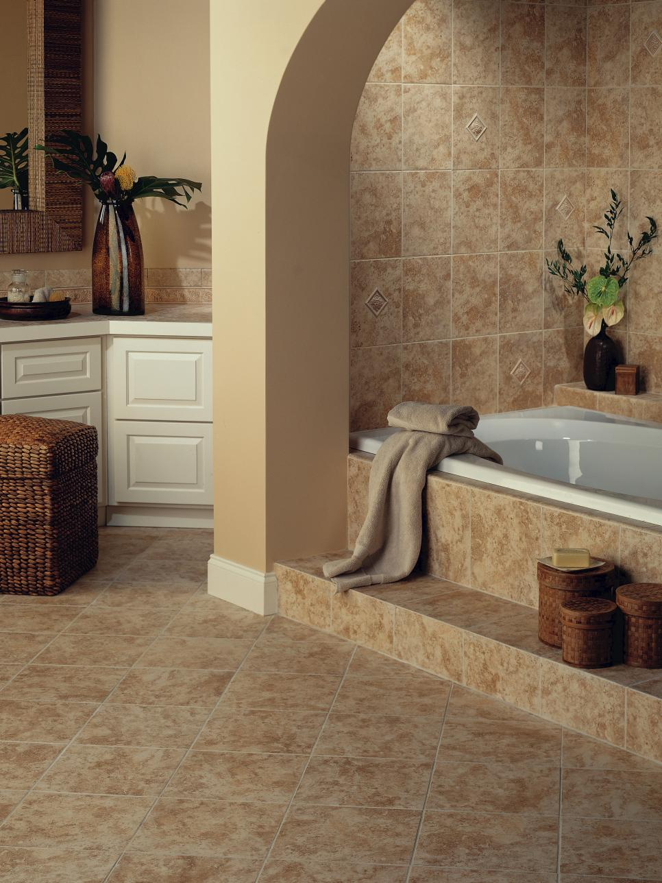 Ceramic tile bathroom floors hgtv for Bathroom ceramic tiles design
