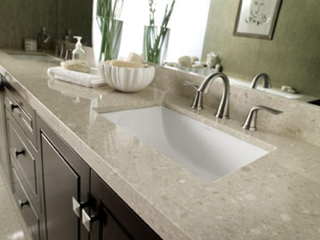 Marble bathroom countertop options hgtv for Bathroom countertops