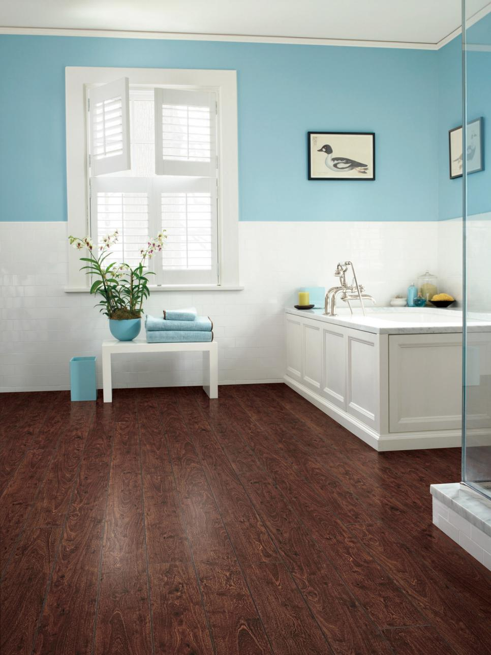 Laminate bathroom floors hgtv - Laminate tiles for bathroom walls ...