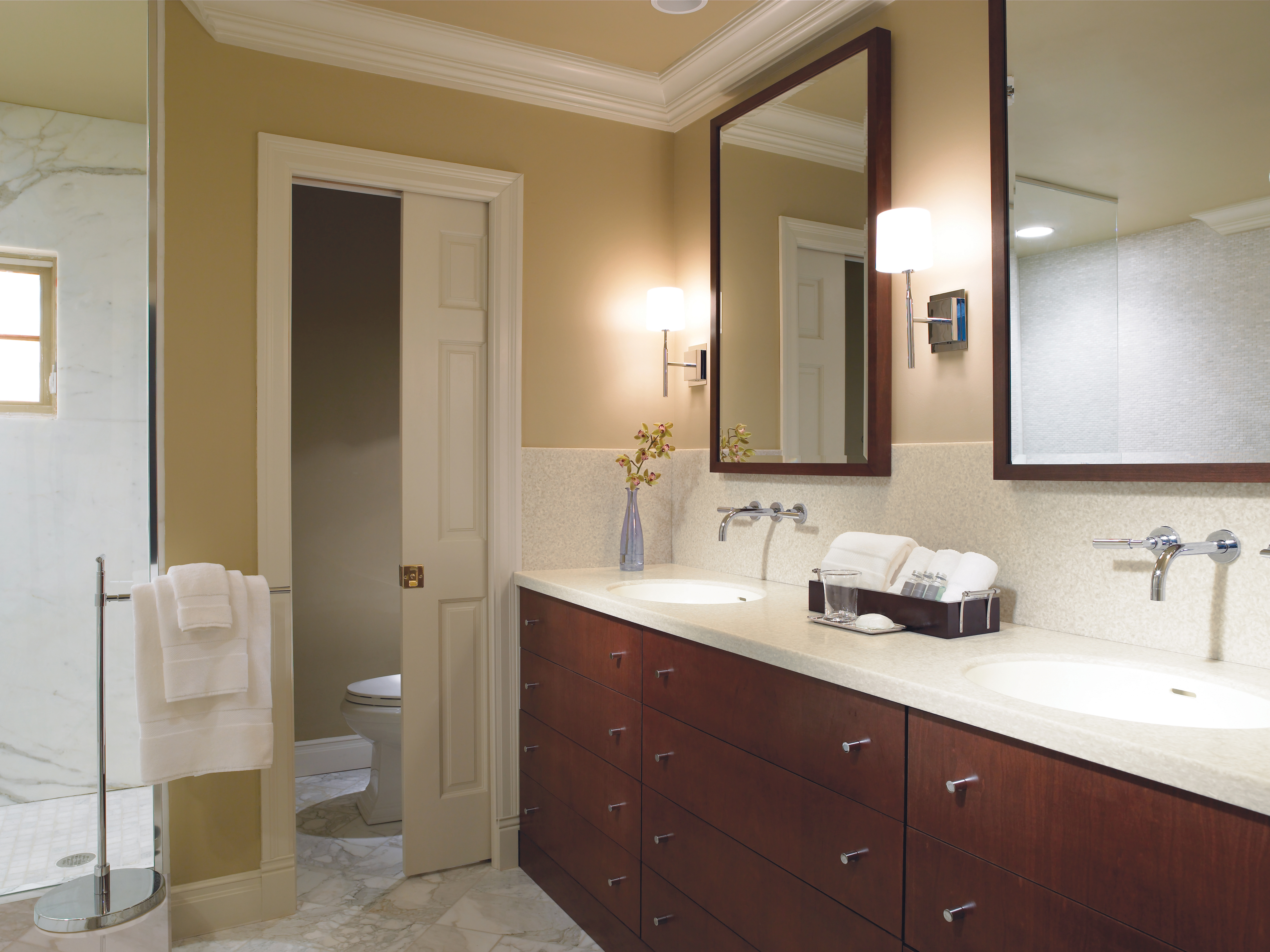 Delighted Small Corner Mirror Bathroom Cabinet Tiny Large Bathroom Wall Tiles Uk Round Bathroom Vanities Toronto Canada Bathroom Mirrors Frameless Youthful Master Bath Tile Design Ideas OrangeBath And Shower Enclosures Choosing Bathroom Countertops | HGTV