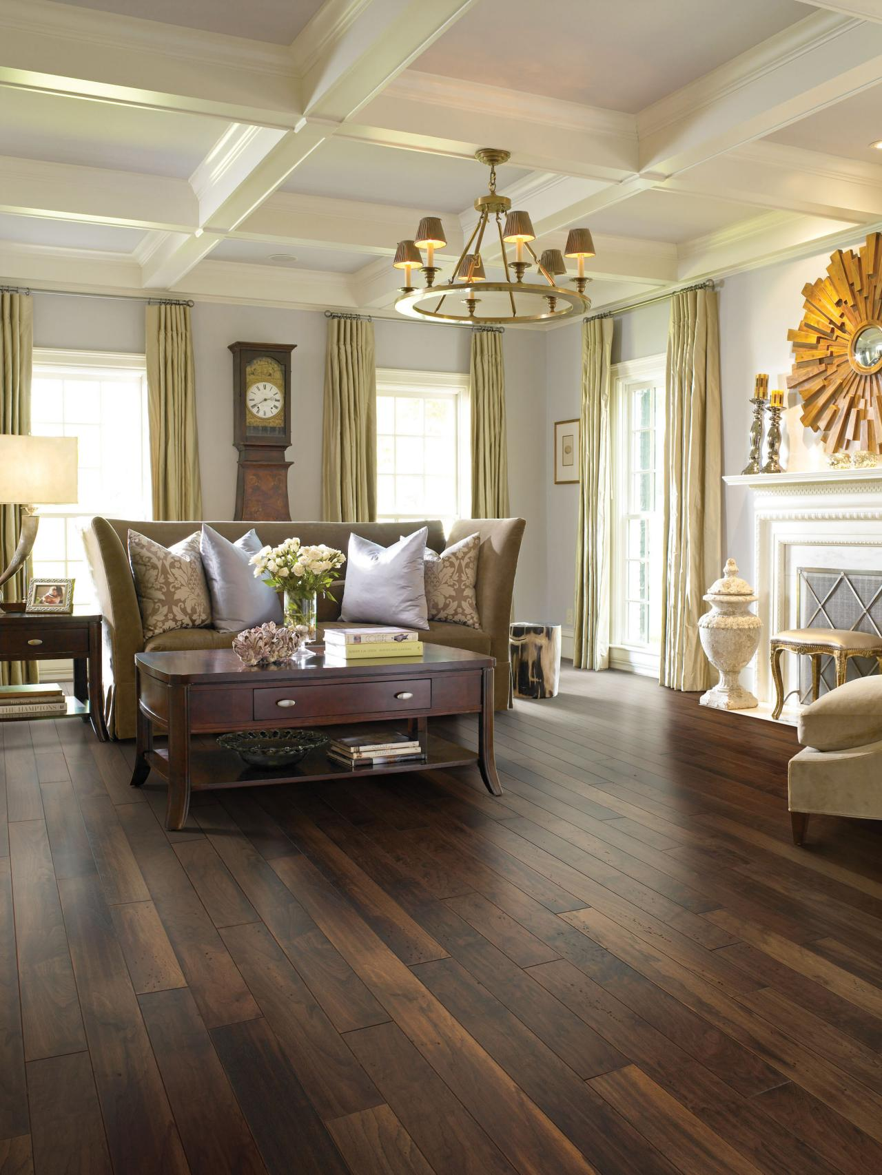 Choosing hardwood flooring hgtv for Living room with wood floors