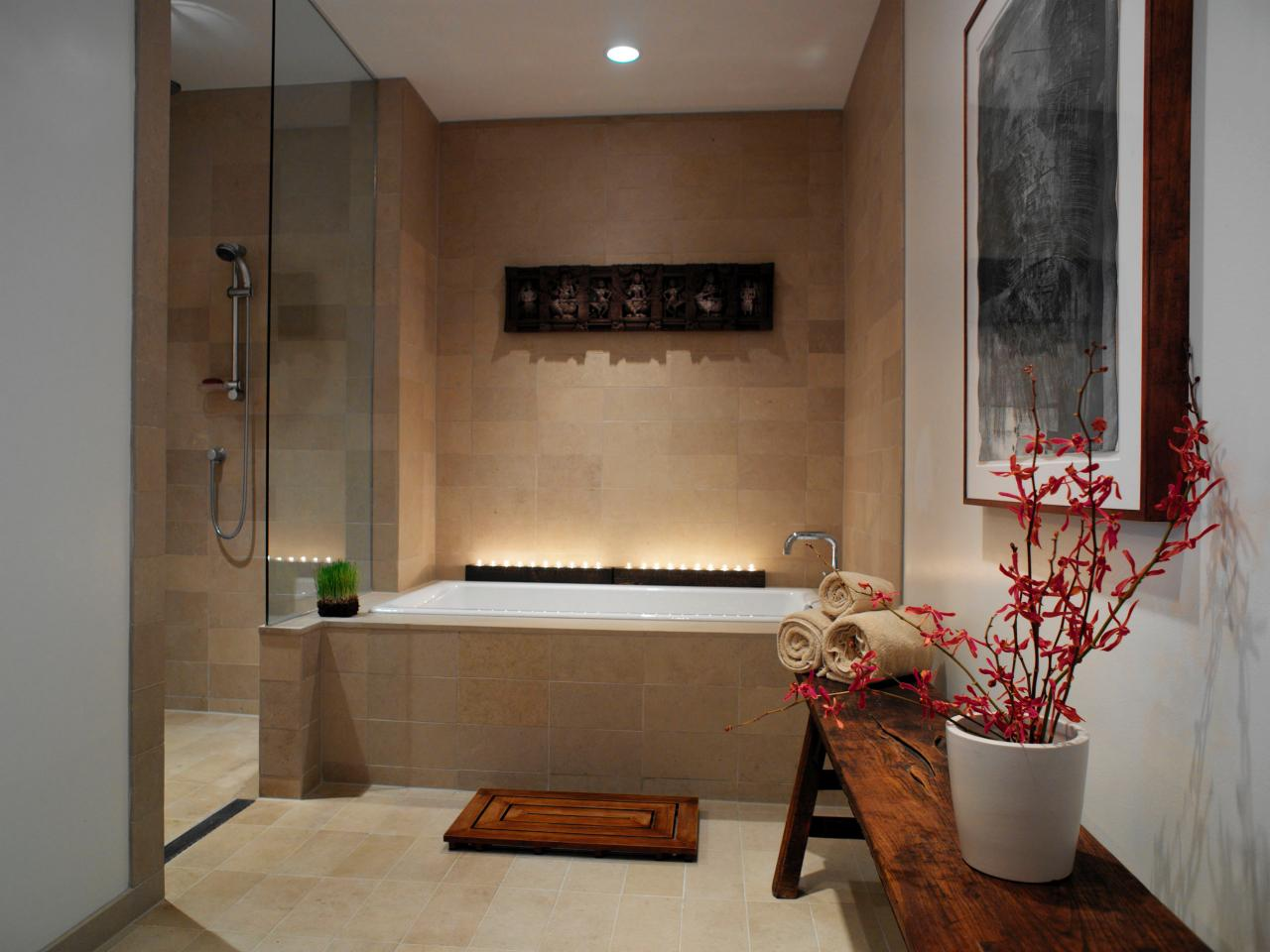 spa inspired master bathroom hgtv
