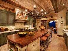 Italian Kitchen With Arched Brick Ceiling