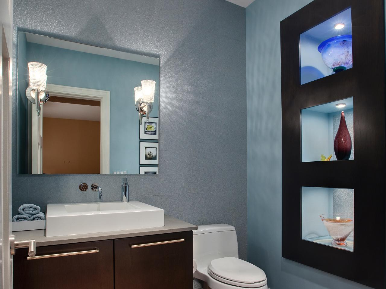 Half bathroom or powder room hgtv for Small half bathroom designs