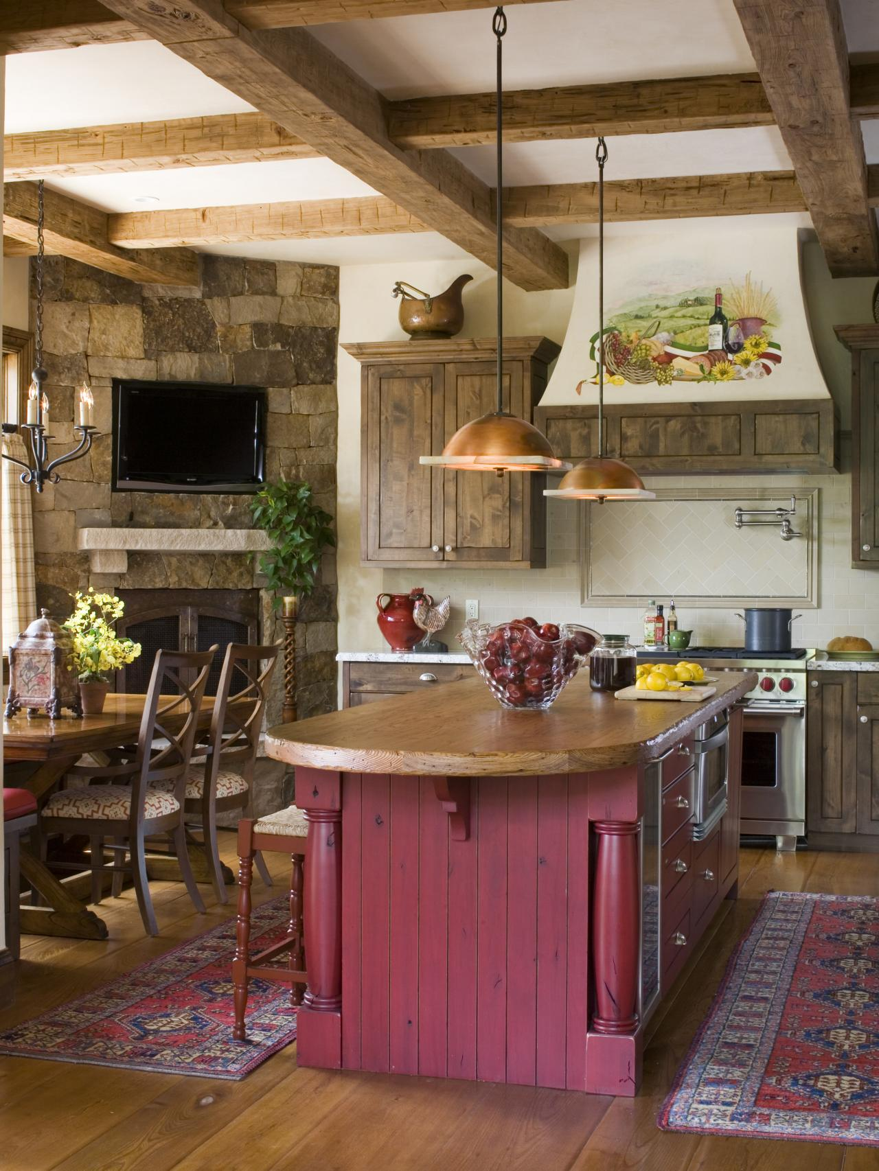 Behind the color red hgtv Rustic kitchen designs