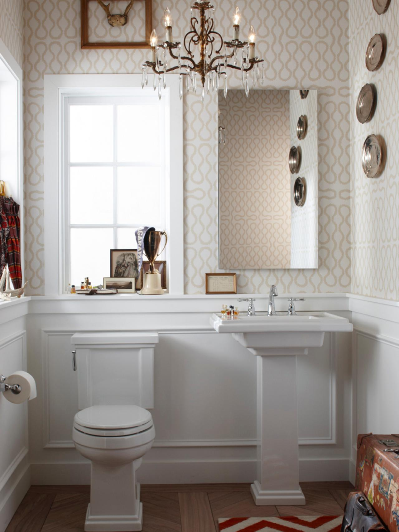 Half bathroom or powder room hgtv - Bathroom remodel ideas with wainscoting ...