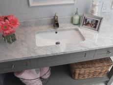 Marble Vanity Breathes New Life in Older Bath