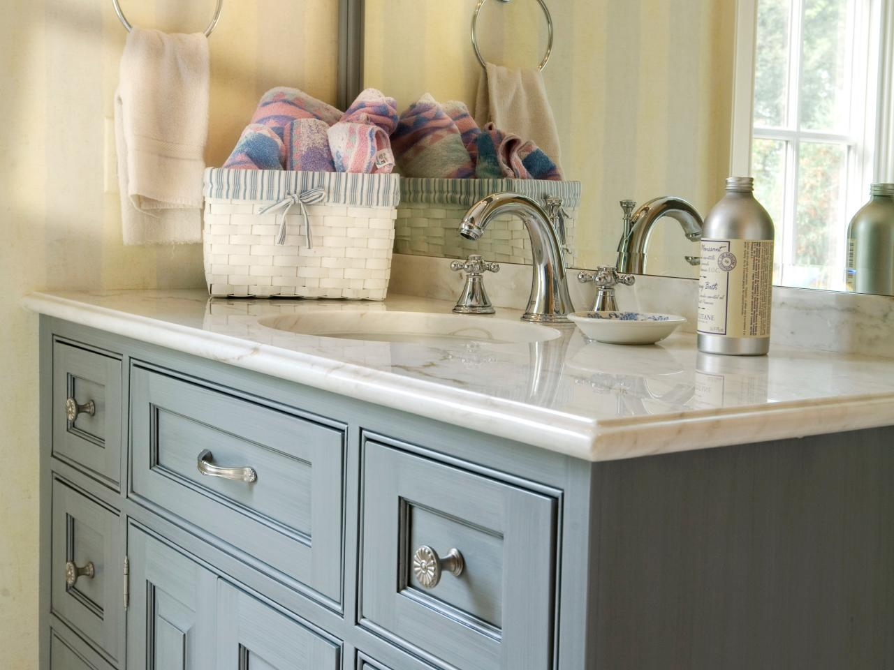 Bathroom Cabinet Buying Tips HGTV - Blue bathroom vanity cabinet for bathroom decor ideas