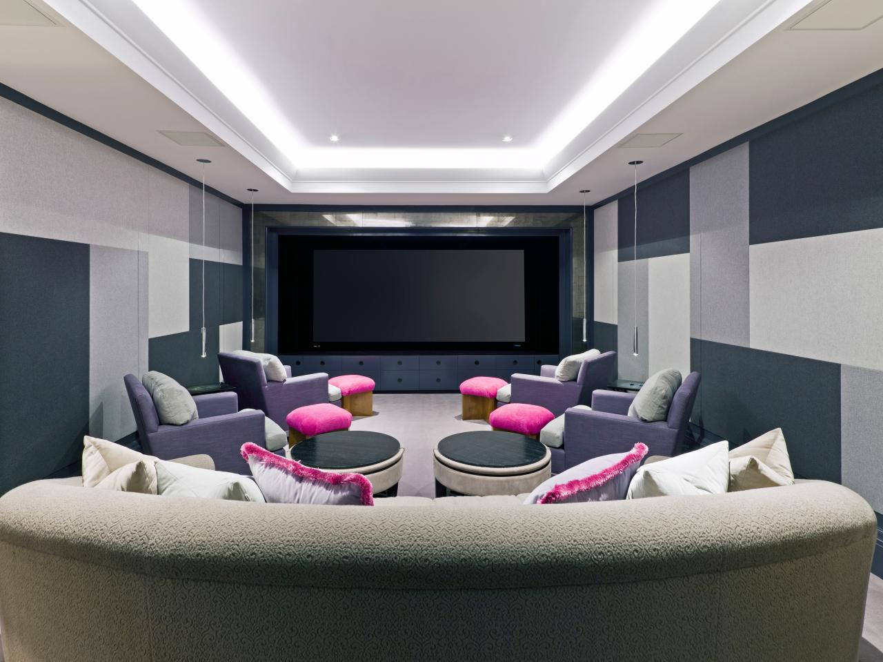 Home Theater Design Ideas black ceiling with white stone walls custom home theater design ideas Jaw Dropping Home Theater