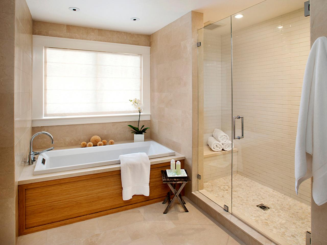 Bathroom remodel splurge vs save hgtv for Tiled bathroom designs pictures