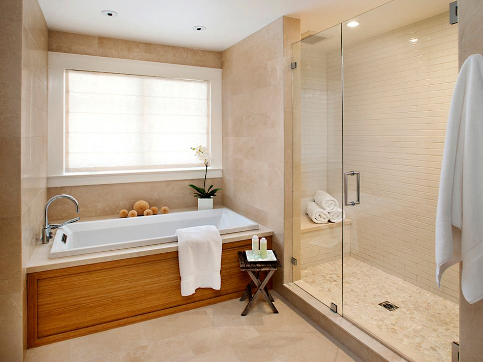 Cheap vs steep bathroom tile hgtv for Cheap bathroom pictures