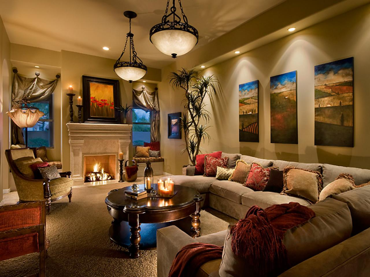 Living room lighting tips hgtv for Cozy family room ideas