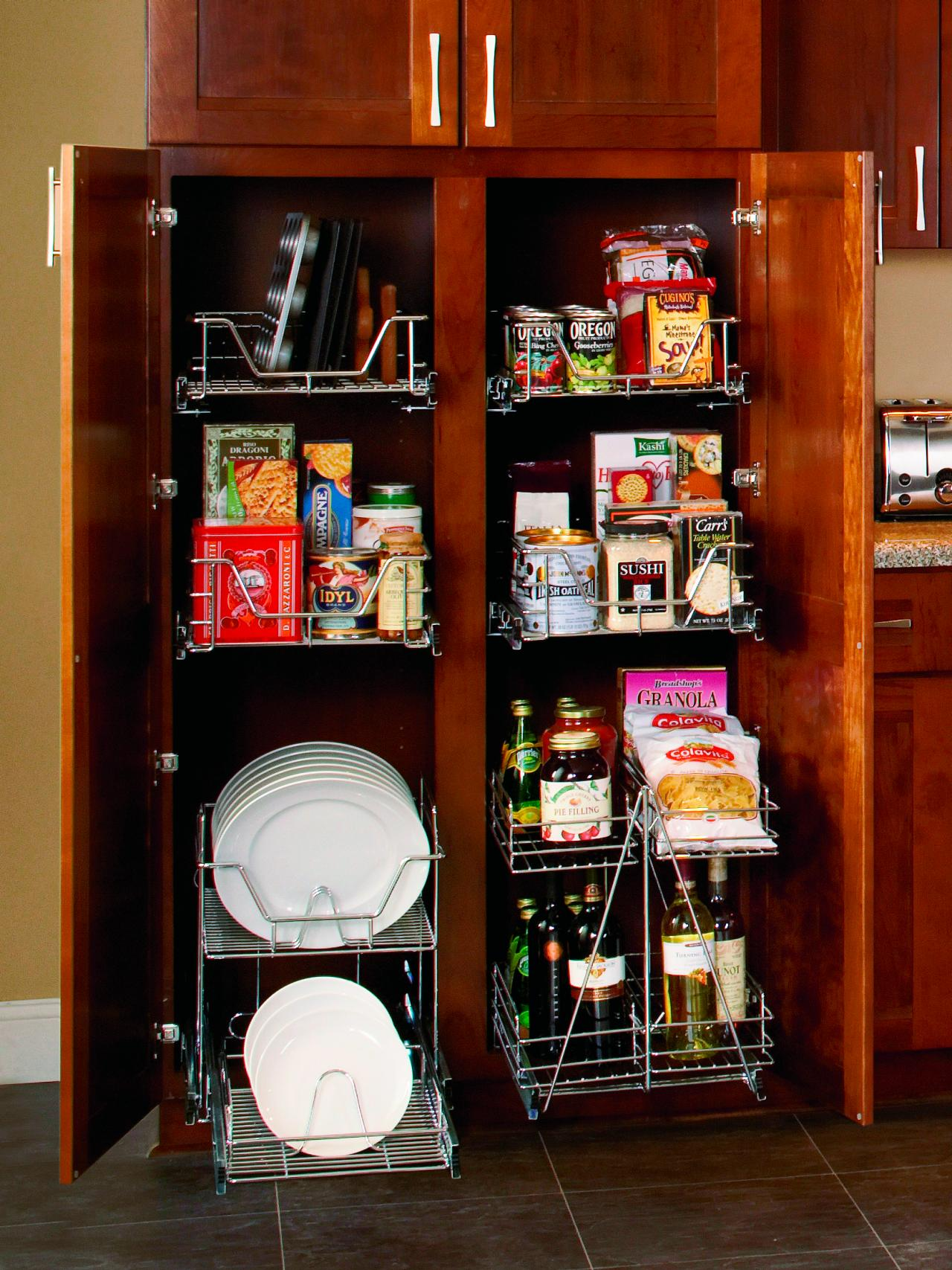Organize your kitchen pantry hgtv for Kitchen closet