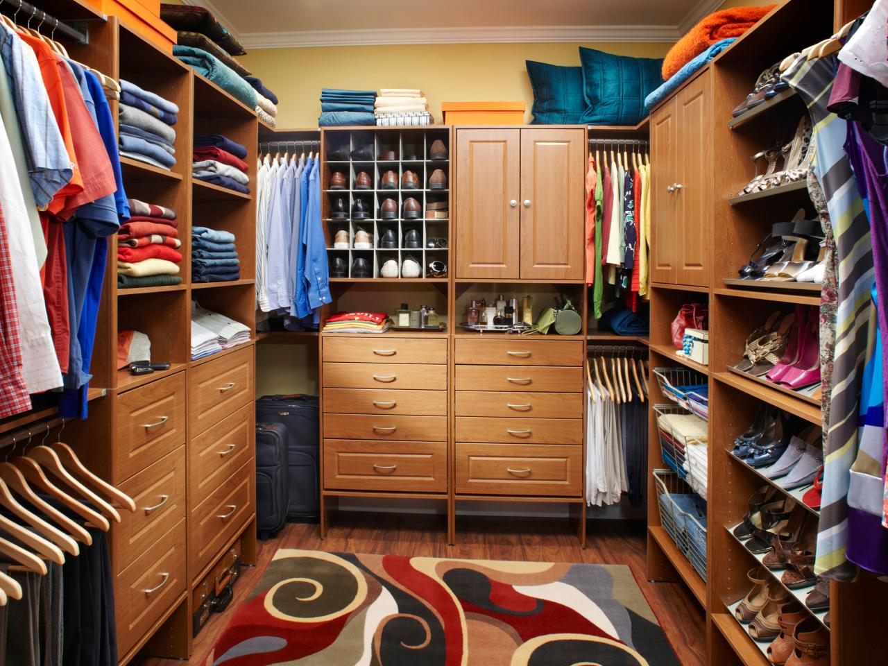 Master closet design ideas hgtv for His and hers walk in closet