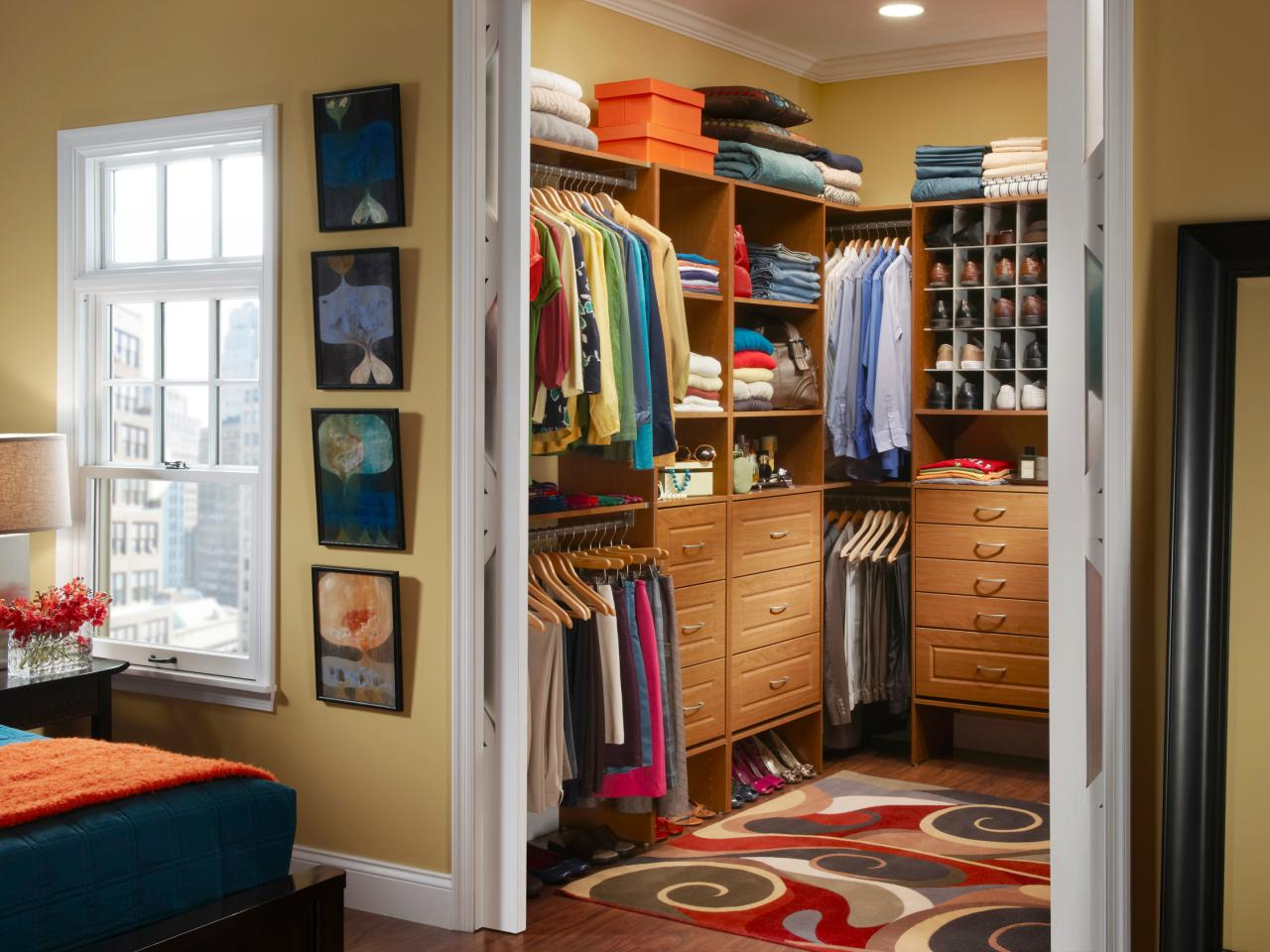 Choosing closet doors hgtv for Bedroom closets designs