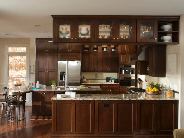 Neutral Kitchen With Traditional Chocolate Cabinetry
